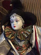 Dynasty Doll Collection Maxwell Porcelain Bisque Jester Harlequin Large