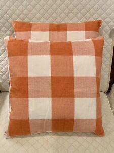"New 2pc Set Orange Farmhouse Buffalo Plaid Throw Pillows 18""x 18"" Couch Bedroom"