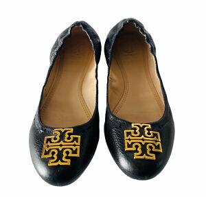 Tory Burch Minnie Black Leather Travel Ballet Flat W Gold Logo Size 6M