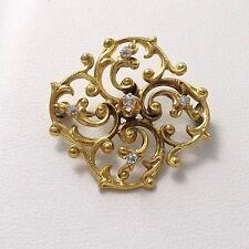 VICTORIAN 14K GOLD MINE CUT DIAMOND SCROLL DESIGN BROOCH PIN 3.8gr