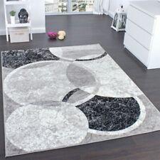 Trendy Designer Carpet Stylish Circular Pattern in Grey Cream Mat Modern Rug