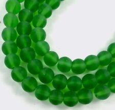 50 Czech Frosted Sea Glass Round Rocaille Beads Matte Emerald Shamrock Green 6mm