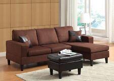 Chocolate Microfiber Sectional Sofa 3pc Set Sofa Chaise & Ottoman Comfort