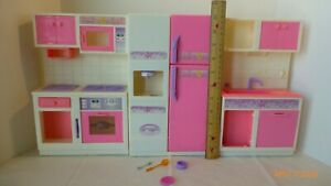 Vintage Goldlok Toys Barbie Size Kitchen Set 3 Piece Fridge Sink Oven Stove Rare