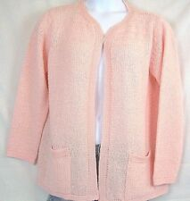 BONNIE LEE Open Front Cardigan Size 46 Light Peach Boucle Knit  #393