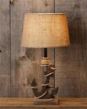 New Rustic Beach House Cottage ANCHOR  LAMP Electric Table Light Burlap Shade