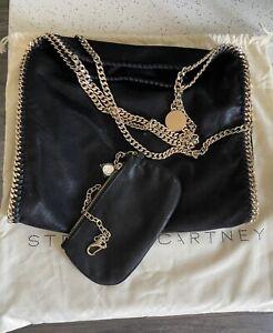 Stella McCartney Falabella 3 chain foldover Black/Gold Tote with small Bag