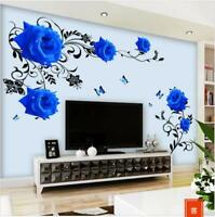 Wall Sticker Blue Rose Vine Wall Decal Mural Living Room Bedroom Removable Home