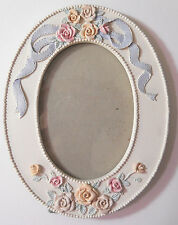 Oval ivory frame pastel roses blue ribbon shabby 3 1/2 x 5 photo