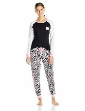 Hello Kitty Women's Cheetah Print Pajama Set, Black/Multi, X-Large