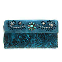 Montana West Women's Clutch Try Fold Wallet - Turquoise Turquoise Concho