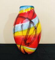 Murano Art Glass Italian Hand Blown Vase Mid Century Modern 11in Tall