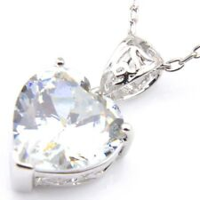Handmade Jewelry Genuine White Fire Topaz Platinum Plated Heart Necklace Pendant