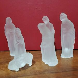 """24 % Frosted Leaded Crystal Nativity set of 6 vintage 1990s small desktop 4""""tall"""