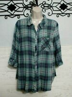Women's Catherines Plaid Button Up Top Size oxwp Multicolored 3/4 Sleeve
