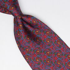Renato Balestra Silk Necktie Red Blue Green Gold Ornate Paisley Print Italy Tie