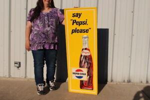 """Large Vintage 1965 Pepsi Cola Soda Pop 47"""" Embossed Metal Sign"""