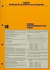 Kodak POLYCONTRAST II RC Papier - Kodak Datenblatt P-E4