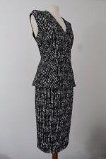 M&S Brand New Black White And Grey Sleeveless Peplum Dress Size 14