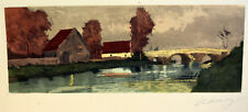 1930s Etching Signed NANCY Landscape Old Country Houses Barns River Bridge View
