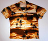 Vintage Hand-Made Home-Made Hawaiian Shirt with Palm Tree and Sunset Motif