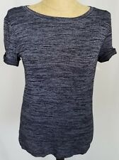 Womens Gap Black Gray S/S Pullover Sweater Knit Top Cuff Roll Sleeves Sz XS New
