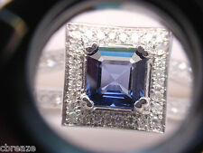 AAA  NATURAL BLUE SAPPHIRE 1.44 CTS SQUARE and  1.01 TCW DIAMONDS 14K WHITE GOLD