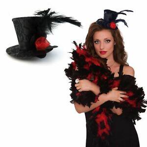 Black Gothic Mini Top Hat Fascinator On Hairclip Womens Fancy Dress Steampunk BN