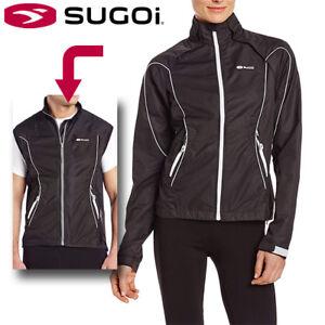 Sugoi Versa Convertible Womens Cycling Jacket Removable Sleeves - Black