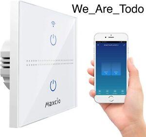 Maxcio Smart WiFi Light Switch, Alexa Smart Wall Light Switch 2Gang 1Way, Alexa