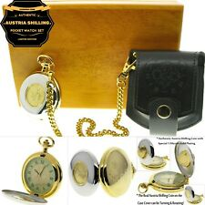 AUSTRIA SHILLING Authentic Coin Pocket Watch Set Gift Leather Pouch Wood Box C37