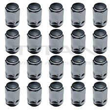 "20 Chrome Lug Nuts 1/2"" x 20 New Bulge Acorn Lugs Silver Closed Ended Conical"