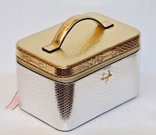 Victoria'S Secret Silver Gold Python Travel Bags Train Case Cosmetic Make Up New