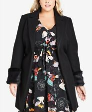 (NWT) Women's City Chic Trendy Plus Size 2X Black Faux-Fur Cuff Coat