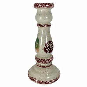 """Ceramic Taper Candle Holder Rose Flower Leaf Speckled Sponge Paint 8"""""""