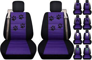 Fits Chevy trailblazer /GMC envoy front car seat cover black-purple w/fleur...
