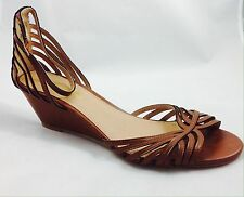 Large size Ladies Wedge Brown Strap Summer Sandals Shoes UK Size 11 PLUS SIZE