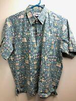 Reyn Spooner Hawaiian Pullover Shirt Reverse Flags Floral Print Large EUC