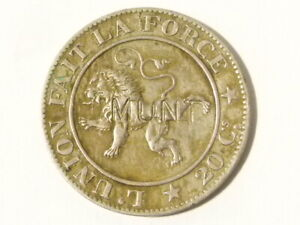 1861 Belgium 20 Centimes Counter marked H. MUNT Coin #D11