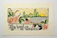 WW1 SILK EMBROIDERED POSTCARD - MY HEART IS IN ENGLAND