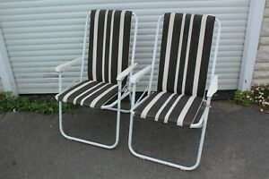 Vintage Folding Garden Deck Chair Pair Camping VW Striped Camper Made in England