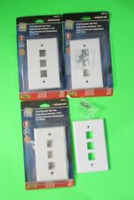 Lot of 4 Monster 3 Port Computer Wall Plate White #140682-00