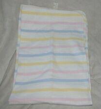 Vintage Baby Blanket Flannel Pastel Stripe White Pink Blue Yellow Hospital