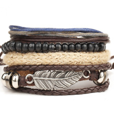 Leather Braided Cuff Bracelet Wristband New Fashion Punk Mens Multilayer Wrap