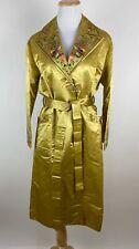 VTG GOLDEN BEE Chinese Robe XS Souvenir Golden Yellow Floral Embroidered Bird