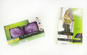 Gold's Gym Home Fitness Set, 2 Lbs Soft Weight Balls Set w/ NewResistance Tubes