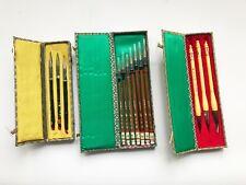 More details for 3 x japanese vintage sets of calligraphy brushes - ude,sumi &suzuri-brush,ink