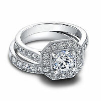 Fine 1.70 CT 14kt White Gold Diamond Engagement Ring Sets Real Band Size M O P