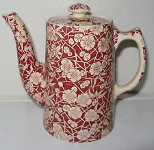 Royal Staffordshire Chintz Cloisonne White Flowers on Red Individual Coffee Pot