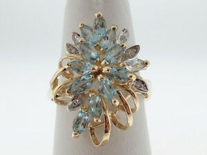 Natural Marquise Cut Aquamarines Diamonds Solid 14K Two-Tone Gold Ring